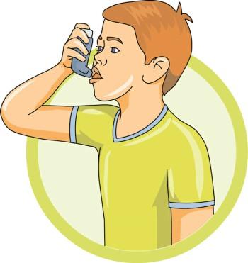 Child Using an Asthma Inhaler MS Treatments