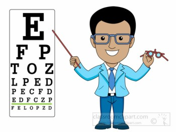Optician Pointing To Eye Exam Chart MS Relapses Frequency