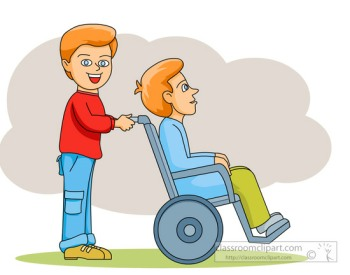 Pushing a person in a wheelchair Multiple Sclerosis Mobility